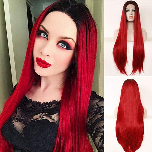 Blue Bird Black Ombre Red Lace Front Wig Silk Straight 61 cm Long Half Hand Tied Wigs for Women Glueless Heat Resistant Burgund Synthetic Hair Middle Part Part