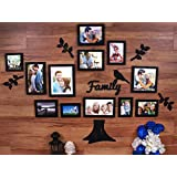 Art Street - Family Tree Set Of 12 Individual Wall Photo Frame With MDF Plaque - 4 Leaf ,1 Trunk ,1 Family And 1 Bird