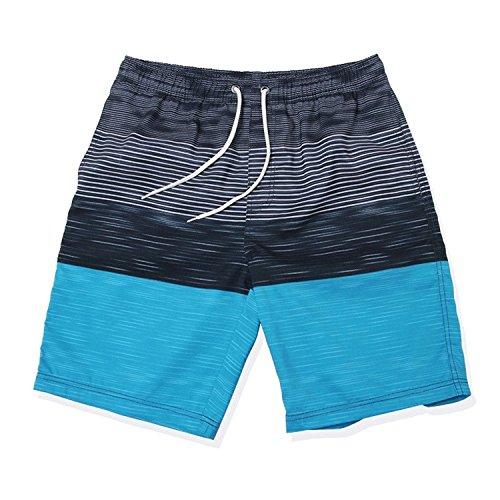 Minetom Herren Sommer Streifen Schwimmhose Wasserdicht Badeshorts Beachshorts Boardshorts Badehose Bermuda Shorts Blau
