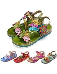 ed33319947a gracosy Sandalias Cuero Planas Verano Mujer Estilo Bohemia Zapatos para  Mujer de Dedo Sandalias Talla Grande