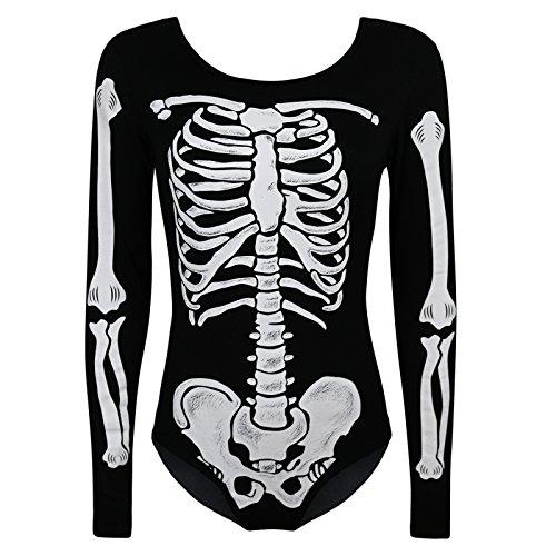 Womens Scheletro Pipistrello Halloween Party Body Mini Abito Legging Felpa Plus Skeleton BodySuit - Skeleton 8