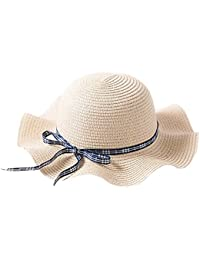 FEOYA Chapeau de Soleil Paille Pliable Pour Les Enfants Été Large  Casquettes Visières Bord Ondulé Plage bb0d0fb41c5