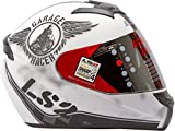 S.L Ls2 Full Face Designer Helmet Ff-352 Rookie White Black Mat-Large - 58 Cms