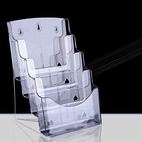 Zeitschriftenhalter, Acryl Display-ständer Desktop-speicher-rack Magazin Halter Wand Datei-buch-aufbewahrungsbox Durchsichtige Für Büro Und Zu Hause A4 Vier Schichten
