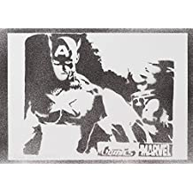 Capitán América Hecho A Mano - Handmade Street Art Poster