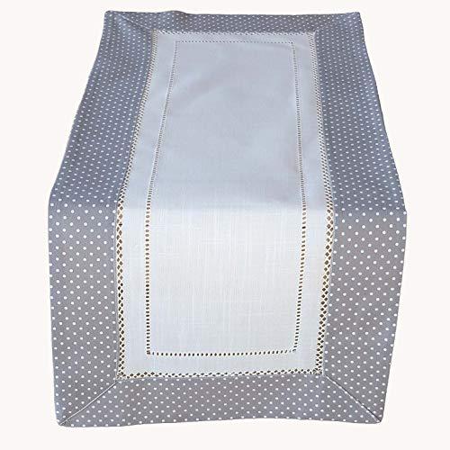Raebel grau/weiß gepunktet Leinenoptik mit Hohlsaum Tischläufer Tischdecke Mitteldecke Tischdeko Frühling grau (40 x 90 cm) - X 40 Tischdecke 40