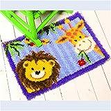 8 Modell Löwe und Giraffe Knüpfteppich für Kinder und Erwachsene zum Selber Knüpfen Teppich Latch Hook Kit child Rug Animal 584 53 by 38 cm