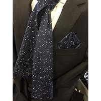 Exklusives Herren Set bestehend aus Schal und Einstecktuch in marine Blau - Weiß getupft 100% Baumwolle