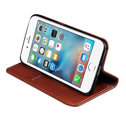 Pour iPhone 6 / 6s, Retro Crazy Horse Texture Adoration magnétique Housse en cuir horizontale Flip avec slot pour carte et porte-monnaie et portefeuille JING ( Color : Brown ) Coffee