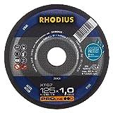RHODIUS XT67 125 x 1, 0 x 22, 23 mm Winkelschleifer Metalltrennscheibe Flexscheibe Trennscheibe Metall Stahltrennscheibe, 200 W, 240 V, 10 Stück