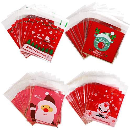 400 Stück Süßigkeiten Taschen Weihnachten Klare Cellophan Taschen Transparent Kekstüten Gebäcktüten Klebemittel Weihnachtstüten Geschenktüte, Selbstklebend OPP Tütchen Verpackungs(Santa Claus)