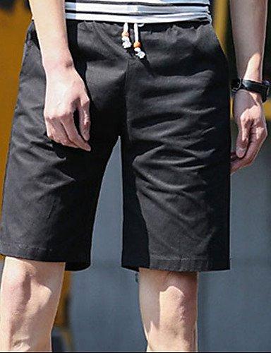Da uomo A vita medio-alta Semplice Media elasticità Chino Pantaloncini Pantaloni,Largo Tinta unita Black