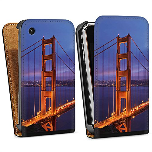 Apple iPhone 5s Housse Étui Protection Coque Pont du Golden Gate San Francisco Amérique Sac Downflip noir