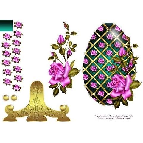 Uova di Pasqua piastra Lenzuolo con rose by Tanya Hall