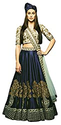 Clickedia Womens & Girls Heavy Banglory Silk Navy Blue Embroidered Lehenga Choli With Dupatta