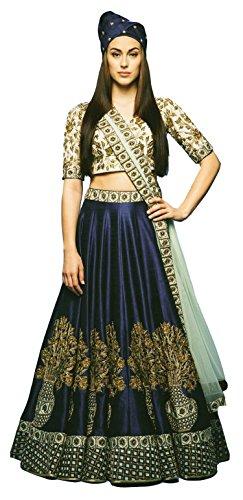 Clickedia Women\'s & Girl\'s Heavy Banglory Silk Navy Blue Embroidered Lehenga Choli With Dupatta