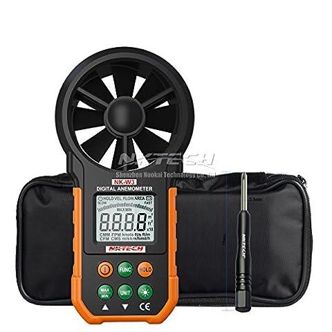 Nktech Nk-w3anémomètre numérique LCD rétroéclairé Vent Mètre testeur de volume d'air Jauge avec boutons multifonctions pour planche à voile Kite Flying Sailing Surf Pêche et Tl-1Tournevis