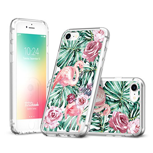 iPhone 6 6S 7 8 Fall, titishark Floral Flower Garden Muster Transparent Print Cover für iPhone 6 6S 7 8 Flamingo -