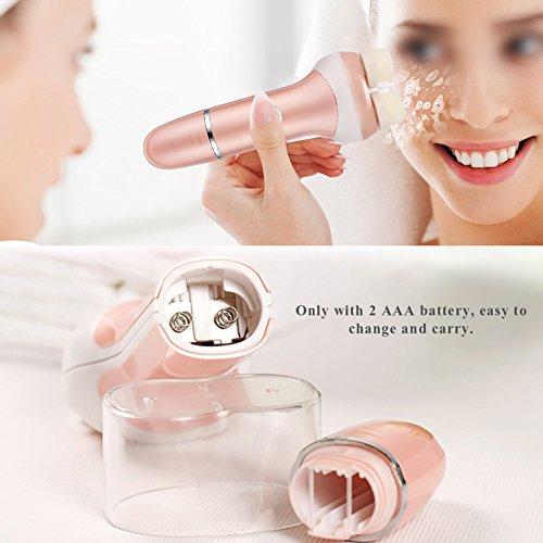Spazzola per la pulizia elettrica del viso, impermeabile Ruota doppia testina per la pulizia dei capelli Dispositivo per la pulizia del viso e massaggiatore o pulizia profonda Lucidatura e rimozione d