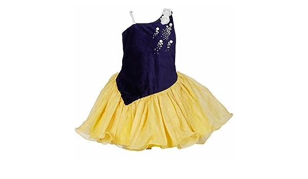 3ee7df058f42 LAVIS Latest Designer Baby Girls Navy Blue velvet Yoke and Yellow ...
