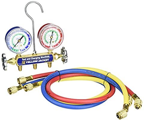 """Yellow Jacket 41213 Series 41 Manifolds with 2-1/2"""" Gauges, 36"""", psi, R-12/22/502, Red/Yellow/Blue"""