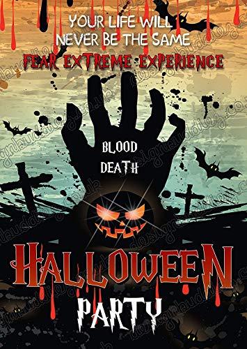 8x Halloween Party Einladungen + Umschläge//Vintage Halloween Spuk-Party lädt auf dickem Karten