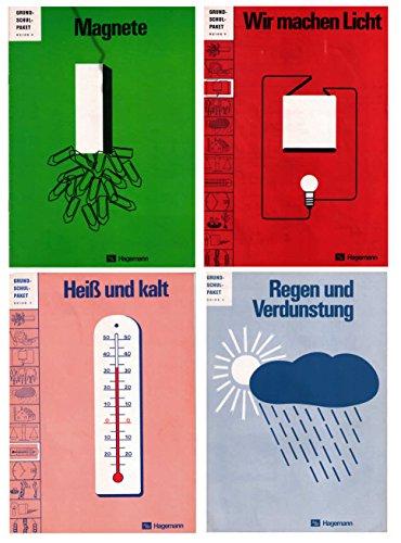 Grundschulpaket Reihe II Physik: Heft1 Magnete, Heft 3 Wir machen Licht, Heft 5 Regen und Verdunstung, Heft 8 Heiß und kalt (Temperatur Stufen)