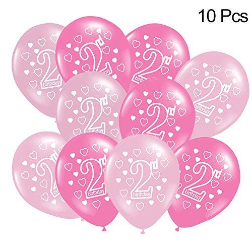 10 Luftballons Kindergeburtstag Ballon 2 Geburtstag - Aus Hochwertigem Latex Gefertigt, Genießt Der Ballon Metallisch Schimmernden Glanz, Der Gleichmäßig Verteilt Ist, Die Schöne Kugelform (Parteien Und Luftballons)