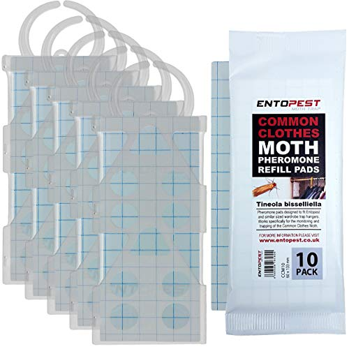 5 x Entopest Professional Common Clothes Moth Traps & 10 Pheromone Glue Boards