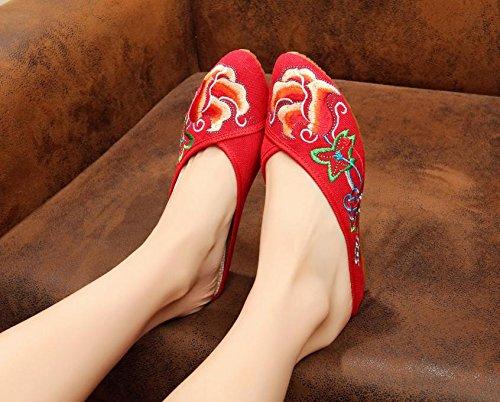 &hua Fine Chaussures brodées, semelle tendon, style ethnique, flip flop féminin, mode, confortable, sandales Red
