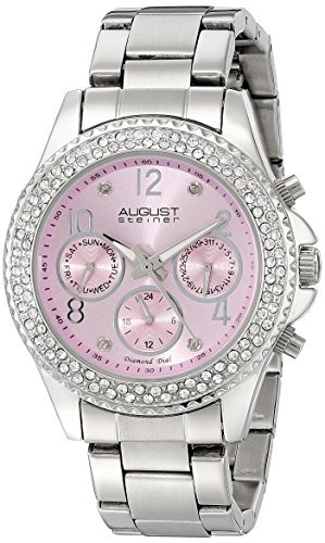 August Steiner Women's AS8136LP Silver Multifunction Quartz Watch with Light Pink Dial and Silver Bracelet