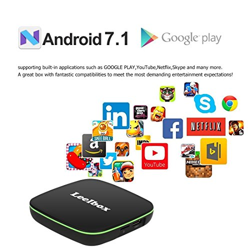 TV BOX Android 7.1   Leelbox Q1 Smart TV Box Quad Core  4K*2K UHD H.265  HDMI  USB*2  WIFI Media Player  Android Set top Box