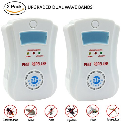 2PCS Pest Control – Electronic Plug In Ultrasonic Pest Repeller Repellent for Rodents, Mice, Rats, Insects, Roaches, Spiders, Flies, Ants, Bugs, Fleas, Non-toxic, Environment-friendly, Humans & Pets Safe