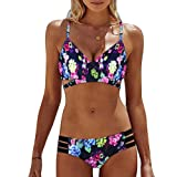OVERDOSE Frauen Böhmen Push-Up Bikini Sets Gepolsterte BH Beach Damen Badeanzug Bademode Swimsuit Swimwear(Multicolor,XL