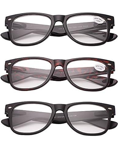 VEVESMUNDO® 3x Herren Damen Lesebrillen Sehstärke Sehhilfe Augenoptik Brillen Augen (drei Stück drei Frben,