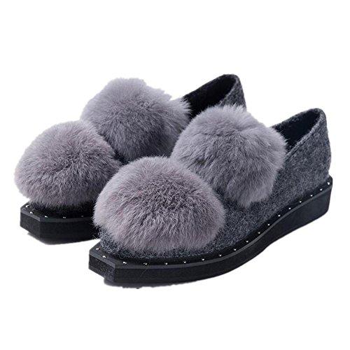 ERHXchaussures automne et hiver neige bottes laine boule bas pédales chaussures pois de la femme deep gray