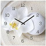 levandeo Wanduhr Glas 30x30cm Uhr Glasbild Orchidee Weiß Sand Stein Wellness Wanddeko Küchenuhr