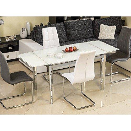 JUSTyou GD-020 Table à rallonge Chromé Blanc 76 x 80 x 120-180 cm