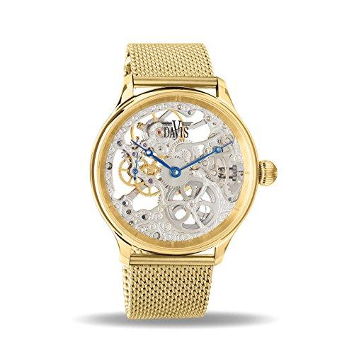Davis–Reloj, de esqueleto visible, para hombre, de acero, oro amarillo, movimiento mecánico, pulsera de malla Milanesa, 0896MB