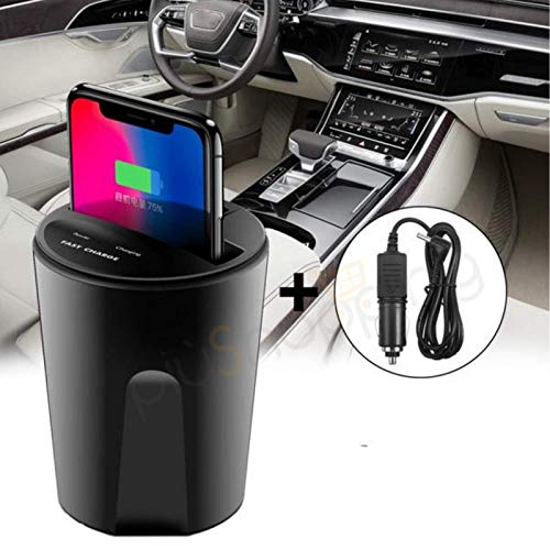 Piushopping Caricabatteria per Auto Wireless Caricatore Portabicchiere per Samsung Huawei iOS Andro