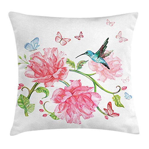 Cupsbags Hummingbird Throw Pillow Cushion Cover, Vintage Watercolor Illustration with Butterflies Birds and Flourishing Branch, Decorative Square Accent Pillow Case, Multicolor24 Patterned Magnolia Branch