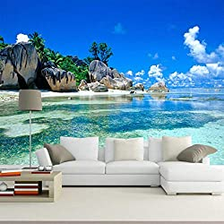 3D-Papiertapete, Wanddekoration, Wanddekoration, Strand der Insel, schöne Muster, Drucktechnologie, High Resolution 5D, Seide, für Kinder, Wohnzimmer, Schlafzimmer, Büro, Flur, Dekoration, Malerei