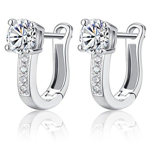 Lieberpaar Damen Retro Diamant Clip 925 Sterling Silber Ohrringe Ohrstecker