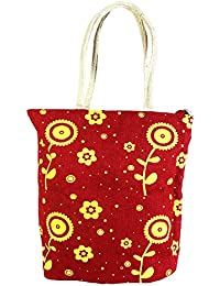 Sankh Sun Flower Burgundy Bag-Jute Printed Fashion Shoppers Bags
