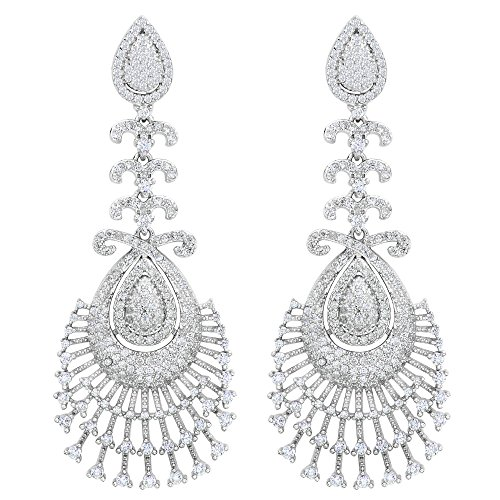 EVER FAITH Women\'s 925 Sterling Silver Zircon Peacock Feather Chandelier Dangle Earrings Clear