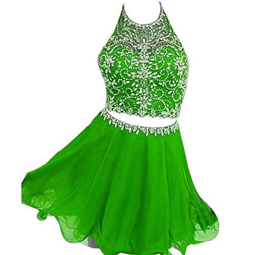Fanciest Damen 2016 Kurz Heimkehr Kleider Two Piece Cocktail Party Dress Lime Gr¨¹ne 44 (Lime-grün-cocktail-kleid)