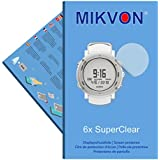 6x Mikvon SuperClear Displayschutzfolie für Suunto Core - unsichtbar - Made in Germany (bewusst kleiner als das Display, da dieses gewölbt ist)