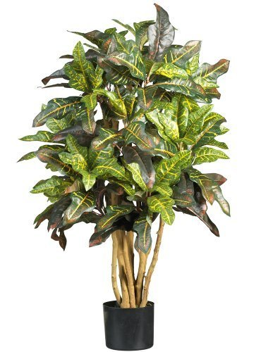 Nearly Natural 5182 Croton Silk Tree, 3-Feet, Green by Nearly Natural