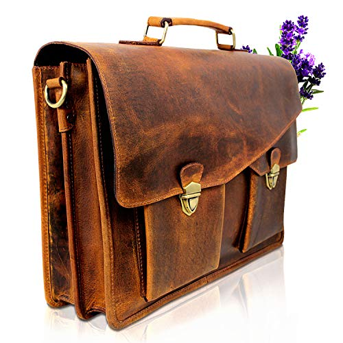 Premium Aktentasche Schultertasche aus Büffel Leder Braun - Umhängetasche als Businesstasche + Laptoptasche bis 15,6 Zoll - Ideale Messenger Bag und Ledertasche für Herren + Damen - PB043 Corno d'Oro
