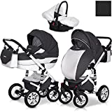 Eurocart DURANGO Anthracite 3in1 Kombikinderwagen Babywanne Buggy Autositz Babyschale 0-10 kg Alu und Leder Edition